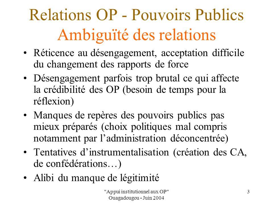 Appui institutionnel aux OP Ouagadougou - Juin 2004 4 Relations OP - Pouvoirs Publics Autres problèmes Cadre légal insuffisant ou inadaptés au réalités des OP (Ex : Lois coopératives)