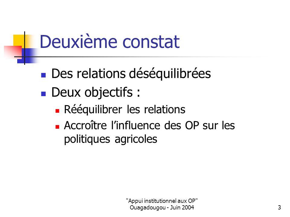 Appui institutionnel aux OP Ouagadougou - Juin 20043 Deuxième constat Des relations déséquilibrées Deux objectifs : Rééquilibrer les relations Accroître l'influence des OP sur les politiques agricoles