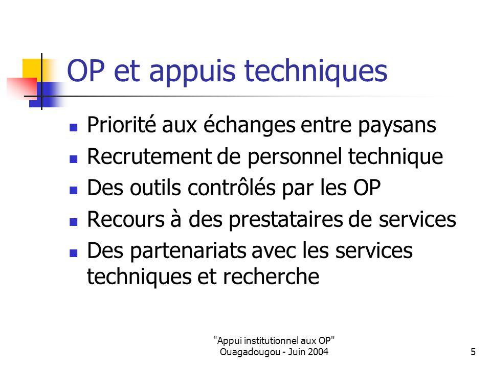 Appui institutionnel aux OP Ouagadougou - Juin 20045 OP et appuis techniques Priorité aux échanges entre paysans Recrutement de personnel technique Des outils contrôlés par les OP Recours à des prestataires de services Des partenariats avec les services techniques et recherche