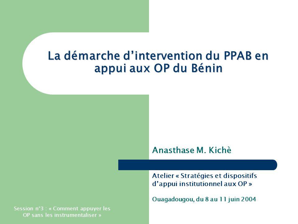 Atelier « Stratégies et dispositifs d'appui institutionnel aux OP » - Ouagadougou, du 8 au 11 juin 2004 Présentation générale PPAB = Programme de Professionnalisation de l'Agriculture du Bénin Démarrage en 1996.
