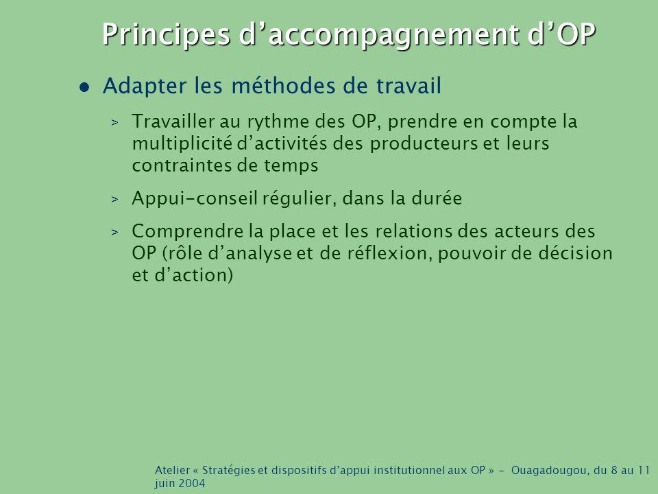 Atelier « Stratégies et dispositifs d'appui institutionnel aux OP » - Ouagadougou, du 8 au 11 juin 2004 Principes d'accompagnement d'OP Adapter les méthodes de travail > Travailler au rythme des OP, prendre en compte la multiplicité d'activités des producteurs et leurs contraintes de temps > Appui-conseil régulier, dans la durée > Comprendre la place et les relations des acteurs des OP (rôle d'analyse et de réflexion, pouvoir de décision et d'action)