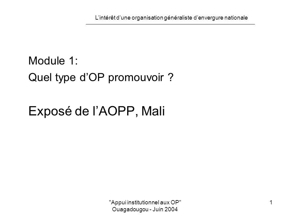 L'intérêt d'une organisation généraliste d'envergure nationale Appui institutionnel aux OP Ouagadougou - Juin 2004 2 Quel type d'OP promouvoir .