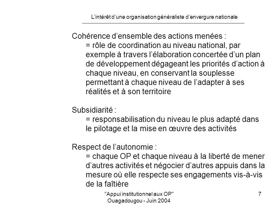 L'intérêt d'une organisation généraliste d'envergure nationale Appui institutionnel aux OP Ouagadougou - Juin 2004 7 Cohérence d'ensemble des actions menées : = rôle de coordination au niveau national, par exemple à travers l'élaboration concertée d'un plan de développement dégageant les priorités d'action à chaque niveau, en conservant la souplesse permettant à chaque niveau de l'adapter à ses réalités et à son territoire Subsidiarité : = responsabilisation du niveau le plus adapté dans le pilotage et la mise en œuvre des activités Respect de l'autonomie : = chaque OP et chaque niveau à la liberté de mener d'autres activités et négocier d'autres appuis dans la mesure où elle respecte ses engagements vis-à-vis de la faîtière