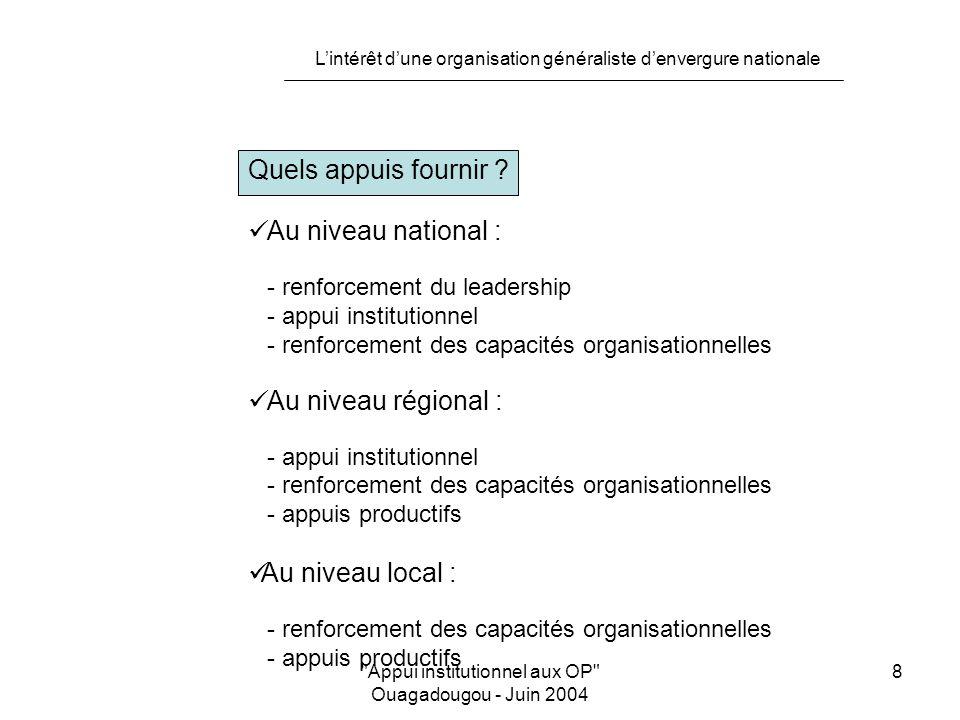 L'intérêt d'une organisation généraliste d'envergure nationale Appui institutionnel aux OP Ouagadougou - Juin 2004 9 Quels appuis fournir .