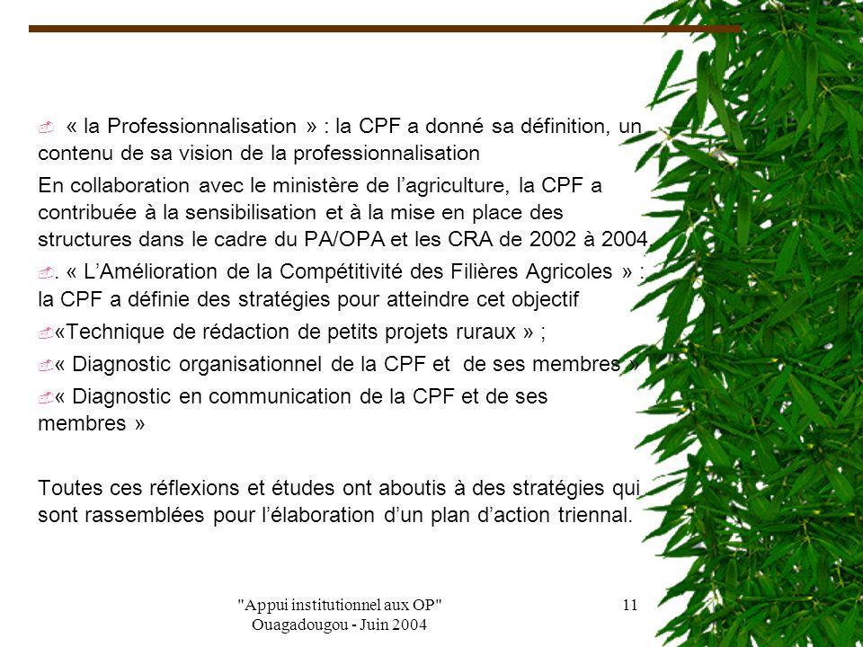 Appui institutionnel aux OP Ouagadougou - Juin 2004 10 V Activités/Réalisations Avec l'appui technique et financier de la FAO, un programme de coopération technique : Renforcement des capacités stratégiques des membres de la CPF a été négocié par l'État puis rétrocédé à la CPF pour sa mise en œuvre.