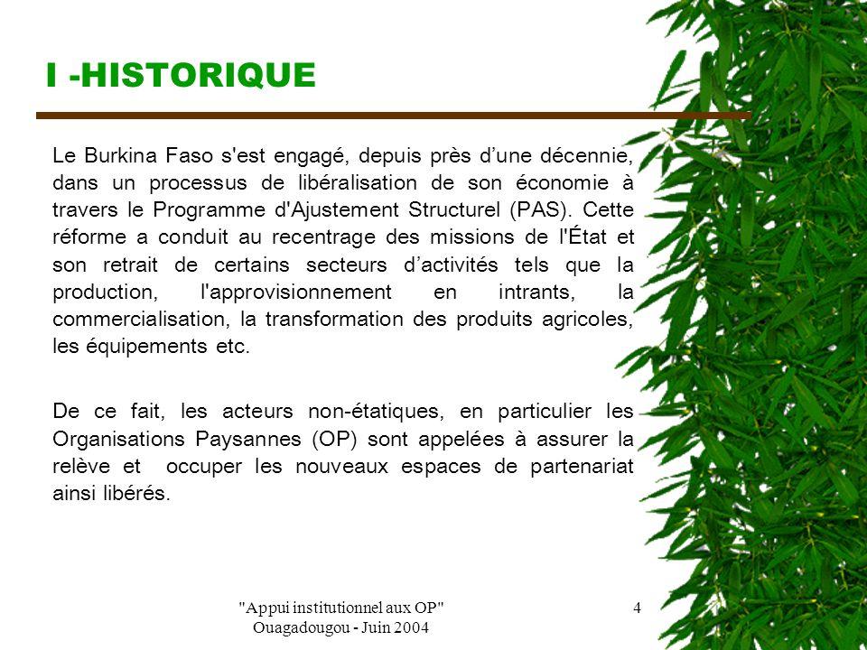 Appui institutionnel aux OP Ouagadougou - Juin 2004 3 PLAN DE PRESENTATION I – Historique II- Missions III - Buts IV - Visions V – Activités/Réalisations VI – Comment appuyer les OP sans les instrumentaliser