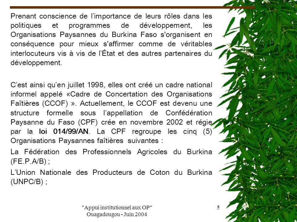 Appui institutionnel aux OP Ouagadougou - Juin 2004 4 I -HISTORIQUE Le Burkina Faso s est engagé, depuis près d'une décennie, dans un processus de libéralisation de son économie à travers le Programme d Ajustement Structurel (PAS).