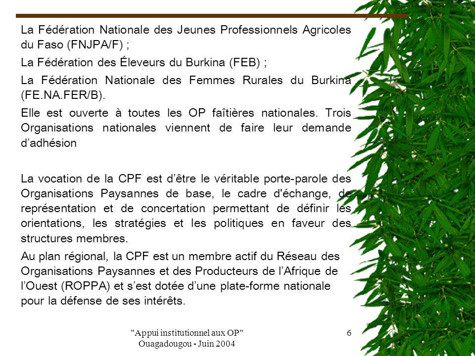 Appui institutionnel aux OP Ouagadougou - Juin 2004 5 Prenant conscience de l'importance de leurs rôles dans les politiques et programmes de développement, les Organisations Paysannes du Burkina Faso s organisent en conséquence pour mieux s affirmer comme de véritables interlocuteurs vis à vis de l'État et des autres partenaires du développement.