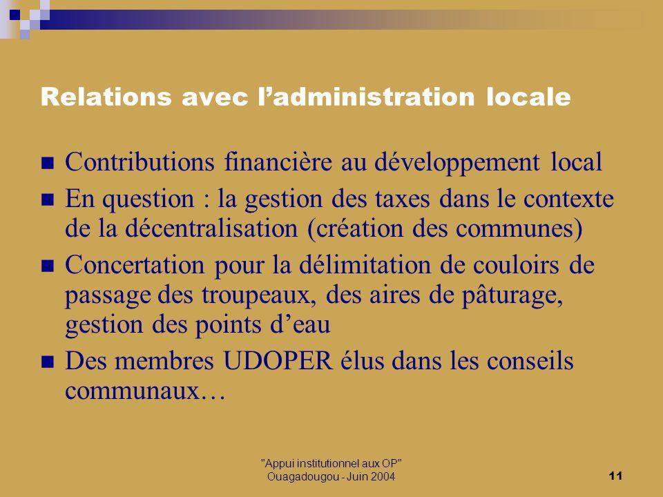 Appui institutionnel aux OP Ouagadougou - Juin 200412 Relations avec les projets de développement Le Projet d'Appui au Développement de l'Elevage Bovin (PADEB)  Sensibilisation, appui à la vaccination, une formation des fils d'éleveurs Le Projet d'Appui à la Diversification des Systèmes d'Exploitation (PADSE)  Appui à la mise en place de banques et de pépinières fourragères Le Programme de Professionnalisation de l'Agriculture du Bénin / MAE-AFDI  Appui organisationnel pour les MBA et les GPER, accompagnement pour la formulation du plan d'actions triennal, formulation de projets et recherche de financements (FSD), voyages d'études sud-sud et sud-nord et nord-sud Autres appuis financiers : GTZ, Danida