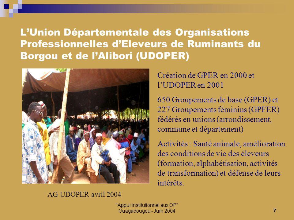 Appui institutionnel aux OP Ouagadougou - Juin 20048 Actions pour le développement local Ecole du campement Gouré-Gbata Alphabétisation Formation en gestion Recrutement d'animateurs Développement des activités féminines Infrastructures locales Mise en place de crédits