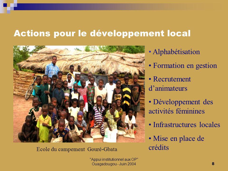 Appui institutionnel aux OP Ouagadougou - Juin 20049 Articulation RMBA / UDOPER Autonomie de gestion des marchés à bétail mais sous la « tutelle » des Unions communales d'OPER Approvisionnement en intrants vétérinaires Réalisation d'infrastructures communautaires