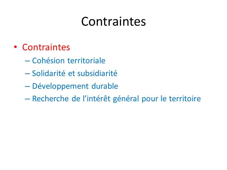 Contraintes – Cohésion territoriale – Solidarité et subsidiarité – Développement durable – Recherche de l'intérêt général pour le territoire