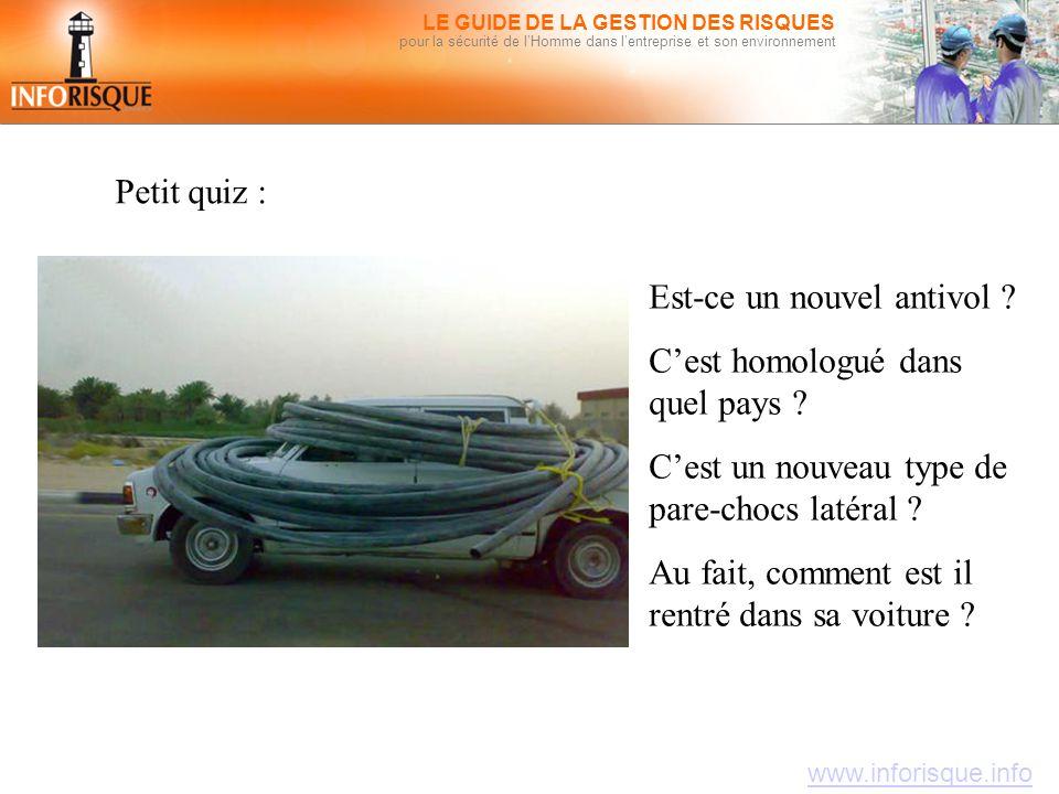 www.inforisque.info LE GUIDE DE LA GESTION DES RISQUES pour la sécurité de l'Homme dans l'entreprise et son environnement Petit quiz : Est-ce un nouve