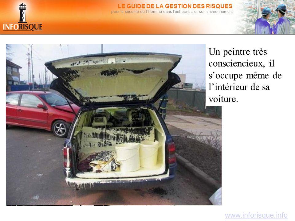 www.inforisque.info LE GUIDE DE LA GESTION DES RISQUES pour la sécurité de l'Homme dans l'entreprise et son environnement Un peintre très consciencieux, il s'occupe même de l'intérieur de sa voiture.