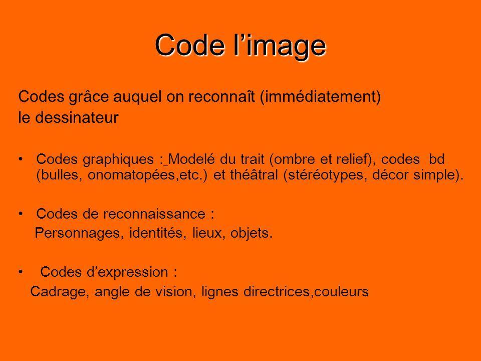 Code l'image Codes grâce auquel on reconnaît (immédiatement) le dessinateur Codes graphiques : Modelé du trait (ombre et relief), codes bd (bulles, onomatopées,etc.) et théâtral (stéréotypes, décor simple).