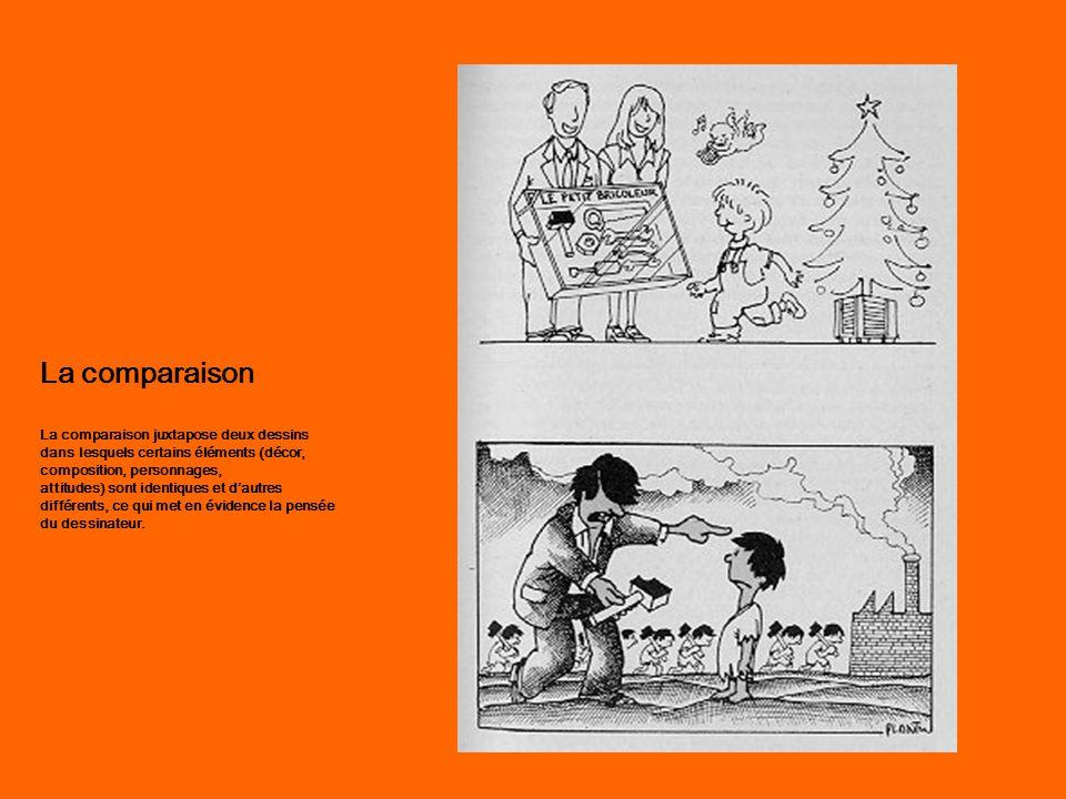 La comparaison La comparaison juxtapose deux dessins dans lesquels certains éléments (décor, composition, personnages, attitudes) sont identiques et d'autres différents, ce qui met en évidence la pensée du dessinateur.