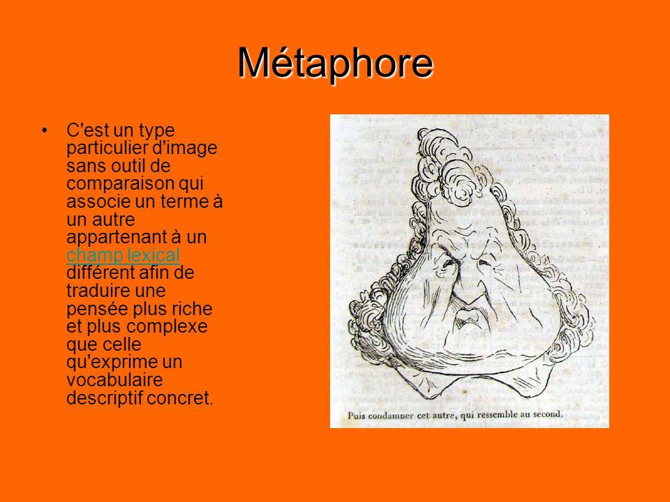 Métaphore C est un type particulier d image sans outil de comparaison qui associe un terme à un autre appartenant à un champ lexical différent afin de traduire une pensée plus riche et plus complexe que celle qu exprime un vocabulaire descriptif concret.