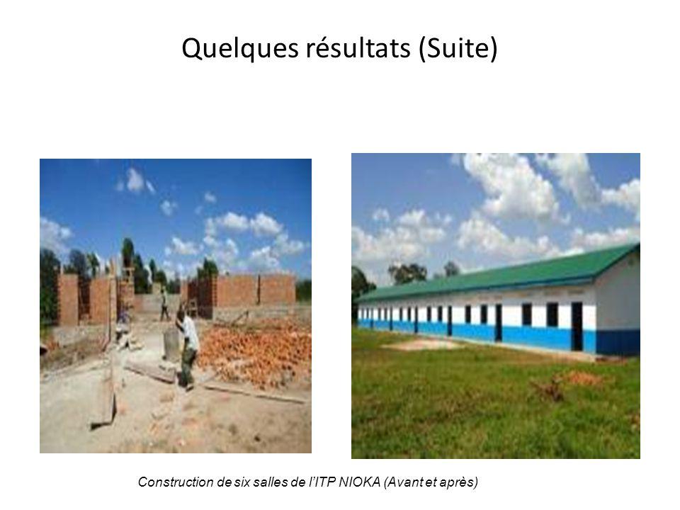 Quelques résultats (Suite) Construction de six salles de l'ITP NIOKA (Avant et après)