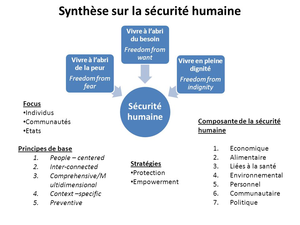 Synthèse sur la sécurité humaine Sécurité humaine Vivre à l'abri de la peur Freedom from fear Vivre à l'abri du besoin Freedom from want Vivre en plei