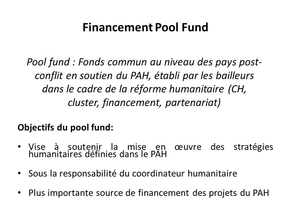 Financement Pool Fund Objectifs du pool fund: Vise à soutenir la mise en œuvre des stratégies humanitaires définies dans le PAH Sous la responsabilité