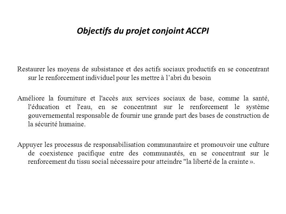 Objectifs du projet conjoint ACCPI Restaurer les moyens de subsistance et des actifs sociaux productifs en se concentrant sur le renforcement individu