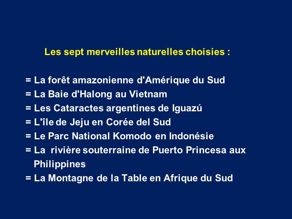 Les Sept merveilles naturelles du monde Le concours international Les Sept merveilles naturelles du monde est inspiré de celui des Nouvelles merveilles du munde moderne .