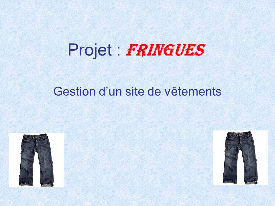 Projet : FRINGUES Gestion d'un site de vêtements