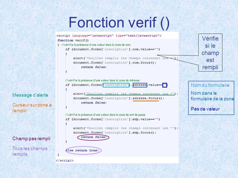 Fonction verif () Vérifie si le champ est rempli Nom du formulaire Nom dans le formulaire de la zone Pas de valeur Message d'alerte Curseur sur zone à