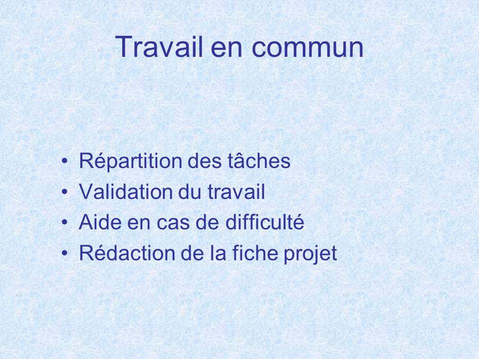 Travail en commun Répartition des tâches Validation du travail Aide en cas de difficulté Rédaction de la fiche projet