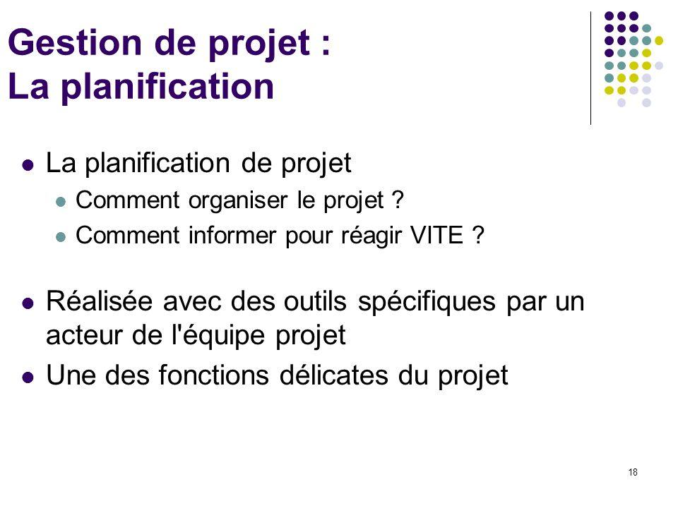18 Gestion de projet : La planification La planification de projet Comment organiser le projet ? Comment informer pour réagir VITE ? Réalisée avec des