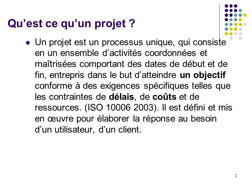 2 Qu'est ce qu'un projet ? Un projet est un processus unique, qui consiste en un ensemble d'activités coordonnées et maîtrisées comportant des dates d