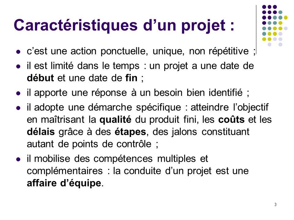 3 Caractéristiques d'un projet : c'est une action ponctuelle, unique, non répétitive ; il est limité dans le temps : un projet a une date de début et