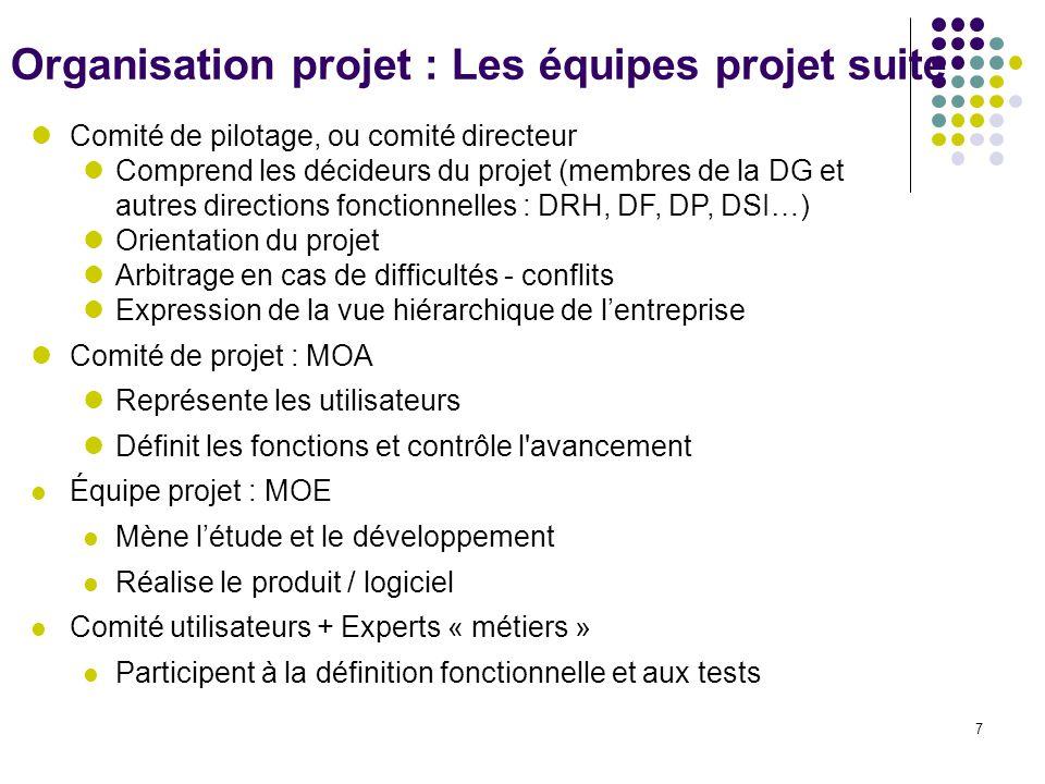 7 lComité de pilotage, ou comité directeur lComprend les décideurs du projet (membres de la DG et autres directions fonctionnelles : DRH, DF, DP, DSI…