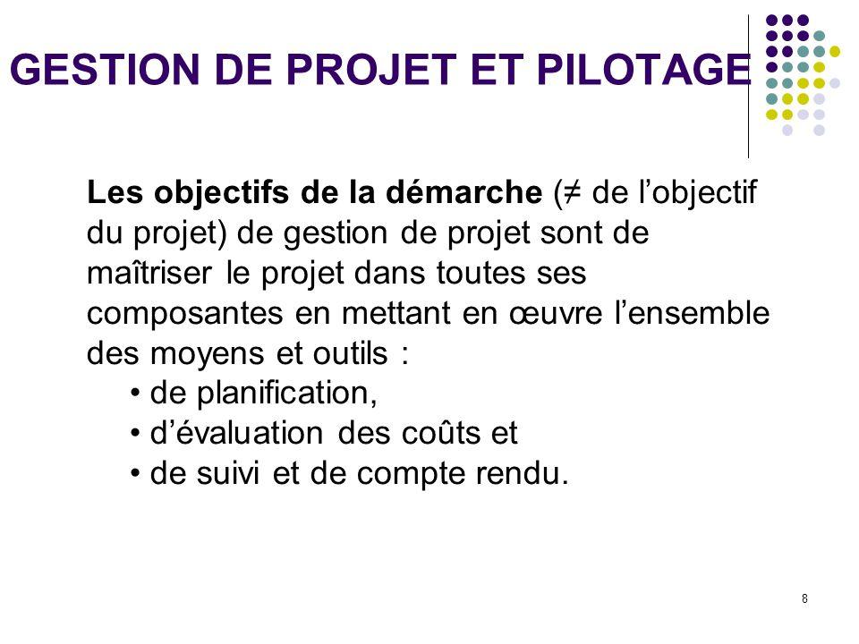 8 GESTION DE PROJET ET PILOTAGE Les objectifs de la démarche (≠ de l'objectif du projet) de gestion de projet sont de maîtriser le projet dans toutes