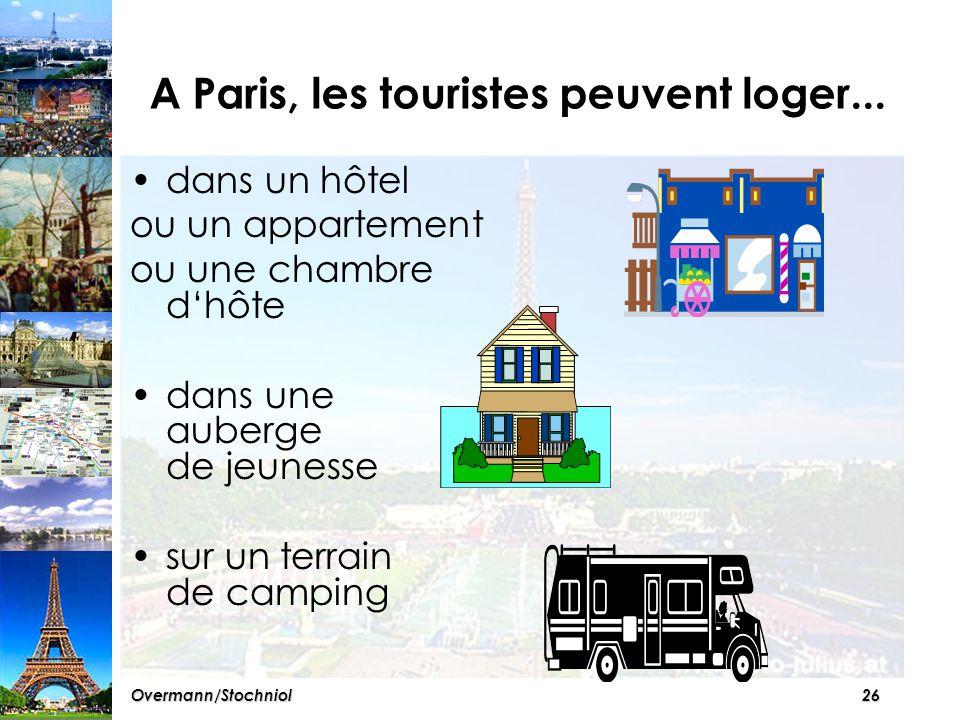 25Overmann/Stochniol A vous ! D'après vous, où est-ce qu'un touriste peut loger à Paris.