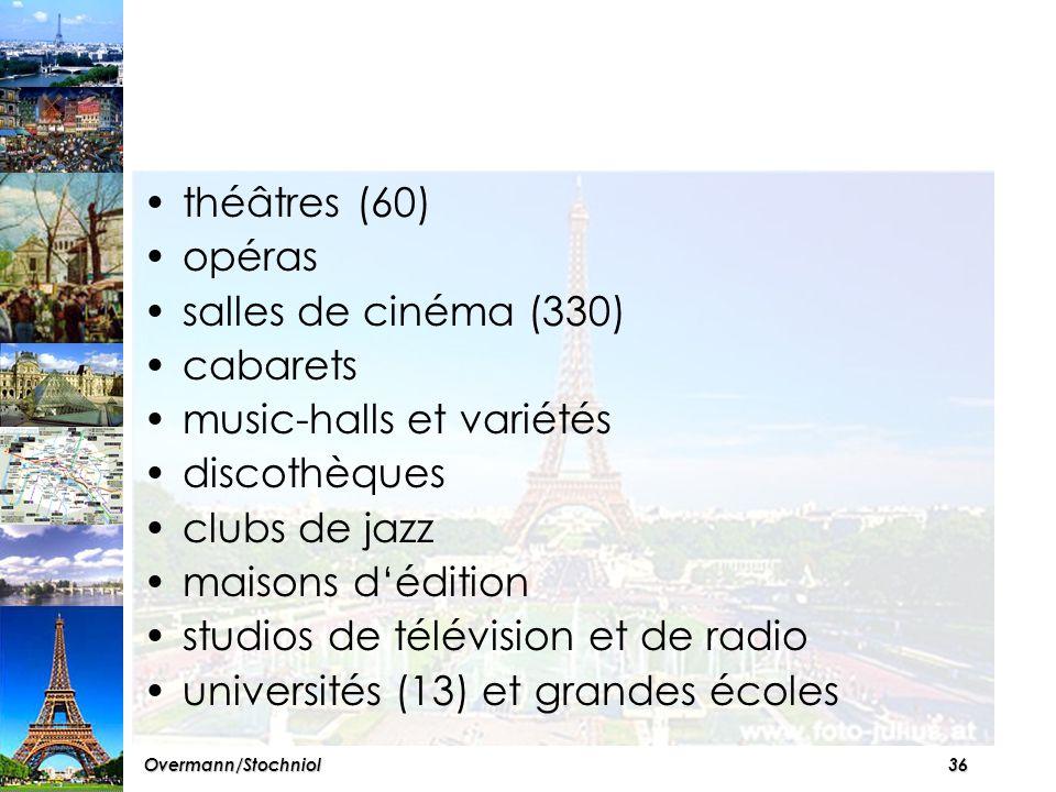 35Overmann/Stochniol Les spectacles Paris offre de nombreux lieux de plaisir et salles de spectacles qui attirent chaque jour des dizaines de milliers de Parisiens, de provinciaux et d'étrangers.