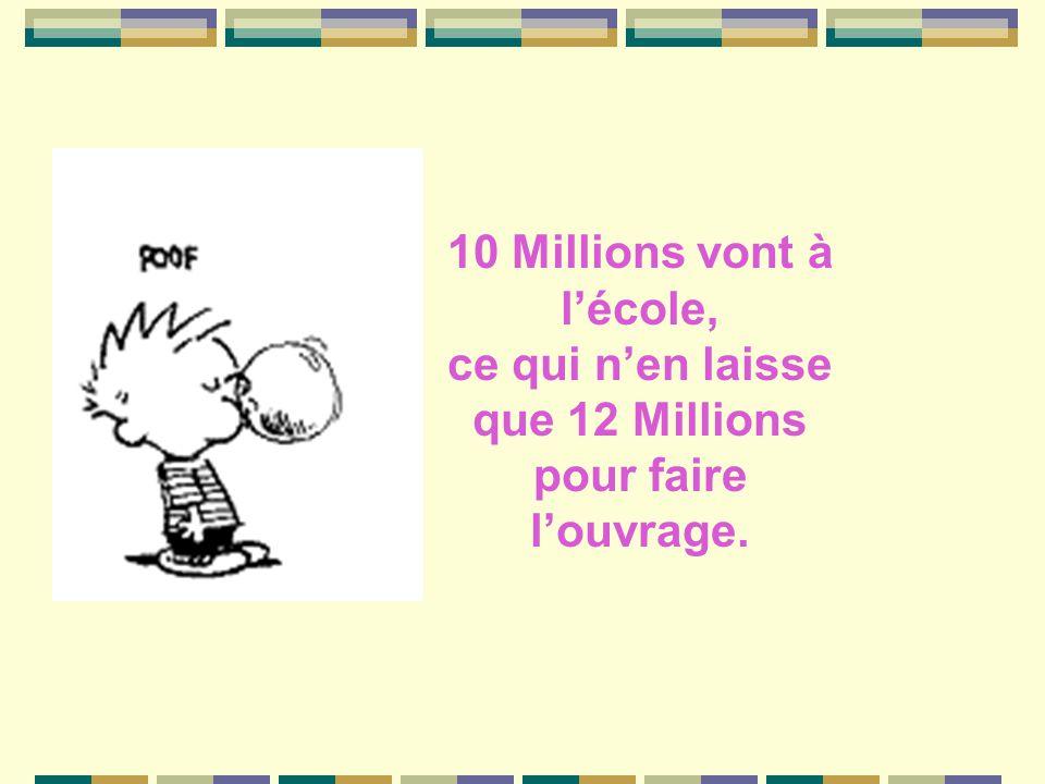 10 Millions vont à l'école, ce qui n'en laisse que 12 Millions pour faire l'ouvrage.