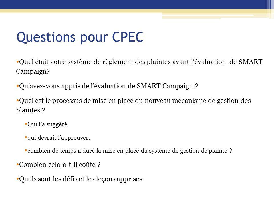 Questions pour CPEC Quel était votre système de règlement des plaintes avant l'évaluation de SMART Campaign? Qu'avez-vous appris de l'évaluation de SM