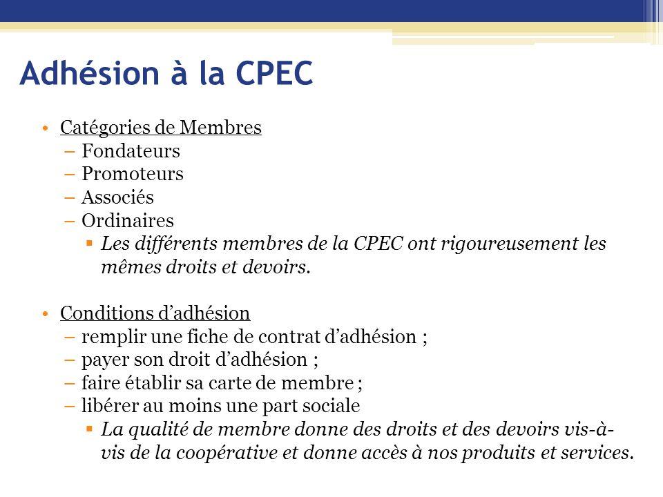 Adhésion à la CPEC Catégories de Membres –Fondateurs –Promoteurs –Associés –Ordinaires  Les différents membres de la CPEC ont rigoureusement les même