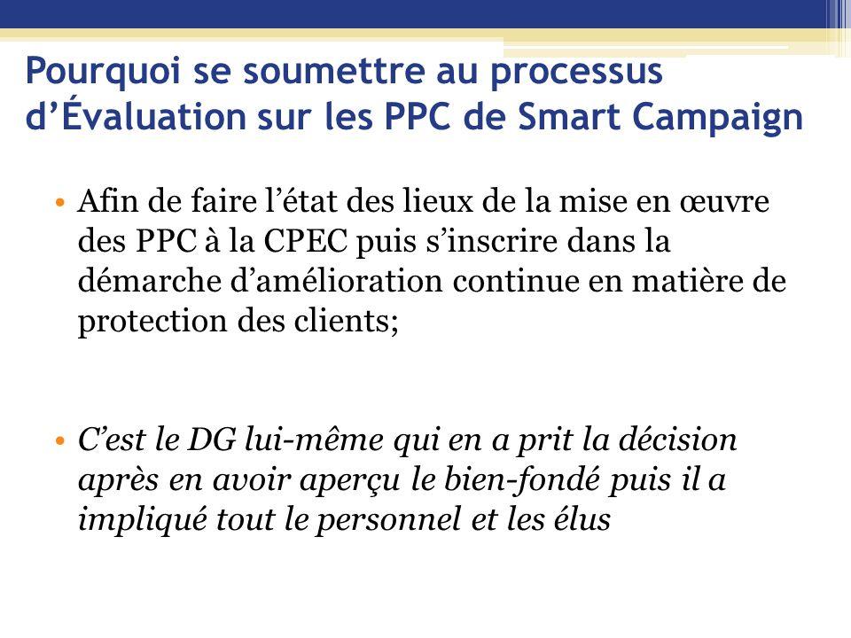 Pourquoi se soumettre au processus d'Évaluation sur les PPC de Smart Campaign Afin de faire l'état des lieux de la mise en œuvre des PPC à la CPEC pui