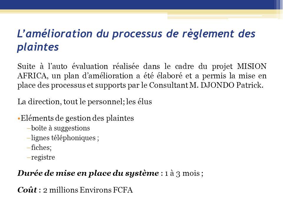 L'amélioration du processus de règlement des plaintes Suite à l'auto évaluation réalisée dans le cadre du projet MISION AFRICA, un plan d'amélioration