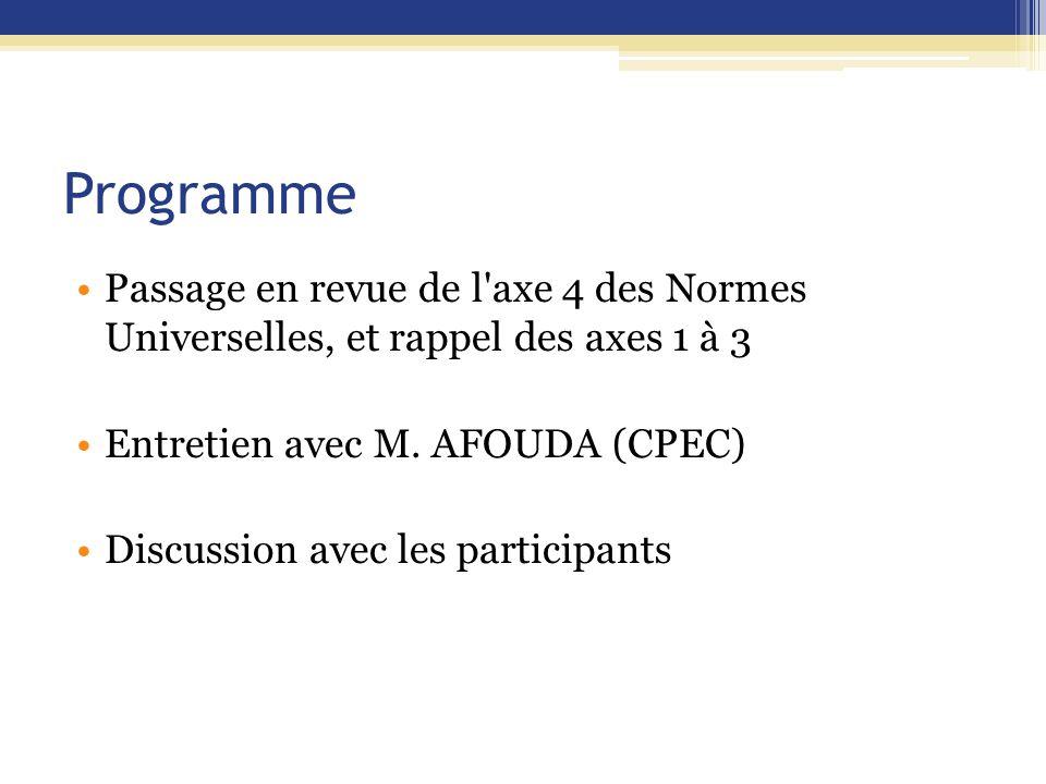 Programme Passage en revue de l'axe 4 des Normes Universelles, et rappel des axes 1 à 3 Entretien avec M. AFOUDA (CPEC) Discussion avec les participan