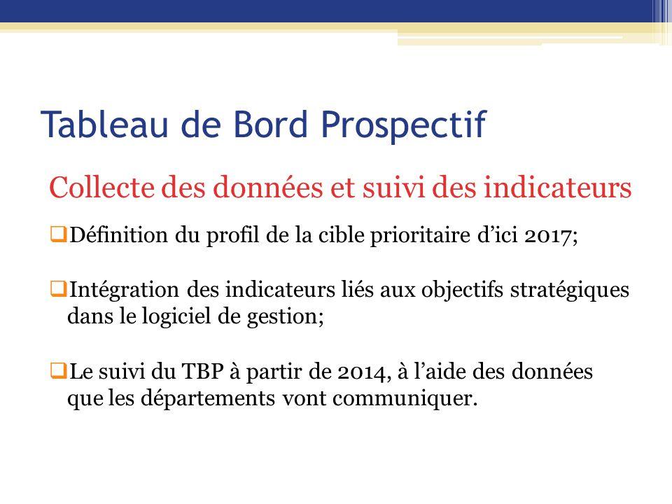 Tableau de Bord Prospectif Collecte des données et suivi des indicateurs  Définition du profil de la cible prioritaire d'ici 2017;  Intégration des indicateurs liés aux objectifs stratégiques dans le logiciel de gestion;  Le suivi du TBP à partir de 2014, à l'aide des données que les départements vont communiquer.