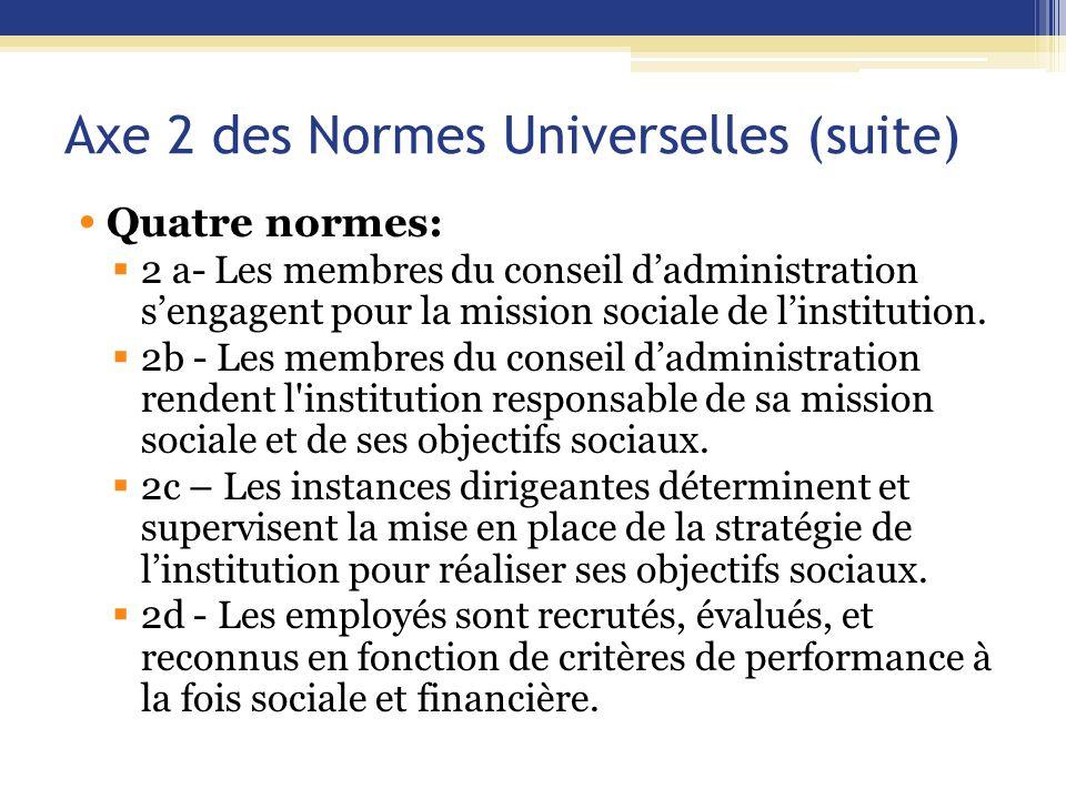 Axe 2 des Normes Universelles (suite) Quatre normes:  2 a- Les membres du conseil d'administration s'engagent pour la mission sociale de l'institution.