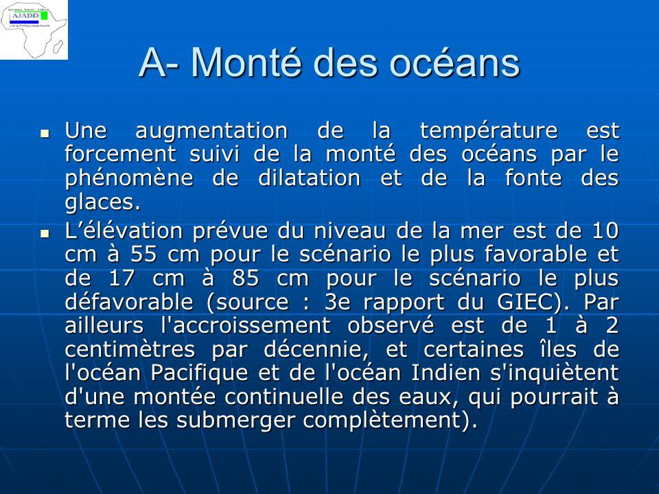 A- Monté des océans Une augmentation de la température est forcement suivi de la monté des océans par le phénomène de dilatation et de la fonte des gl