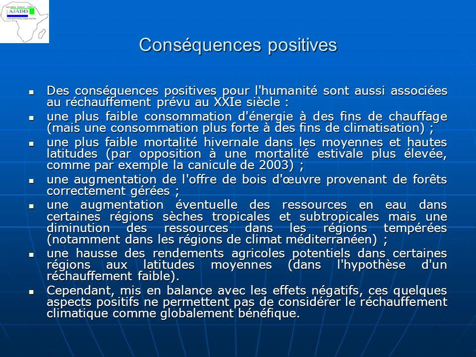 Conséquences positives Des conséquences positives pour l'humanité sont aussi associées au réchauffement prévu au XXIe siècle : Des conséquences positi