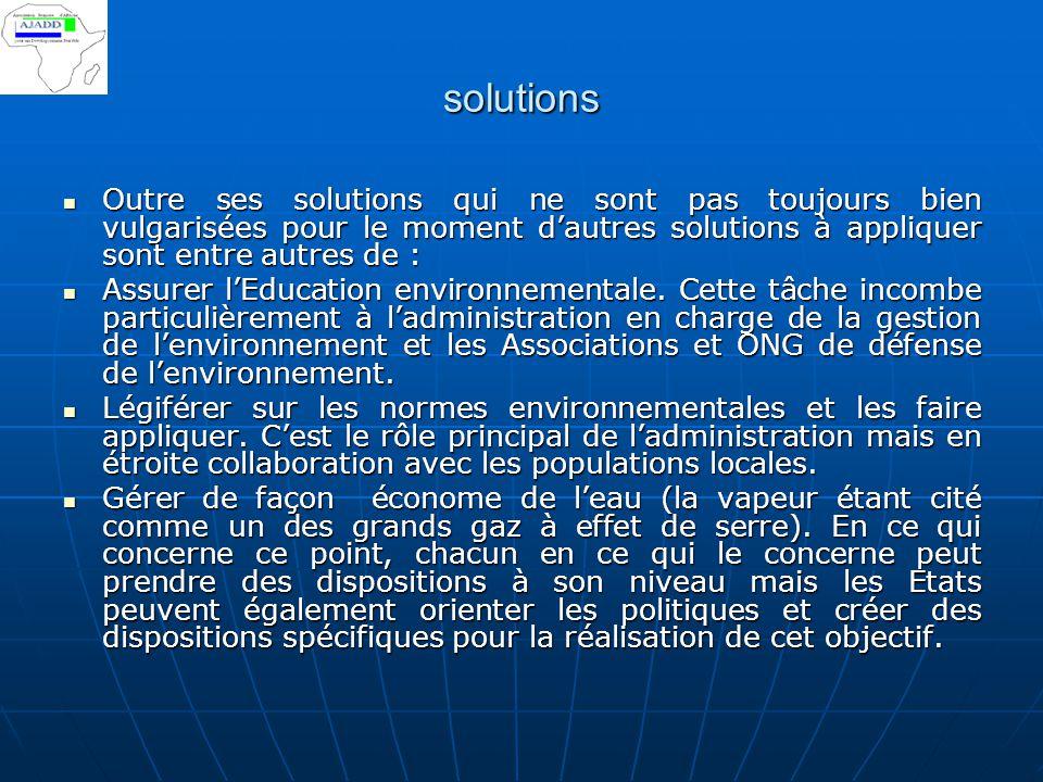 solutions Outre ses solutions qui ne sont pas toujours bien vulgarisées pour le moment d'autres solutions à appliquer sont entre autres de : Outre ses