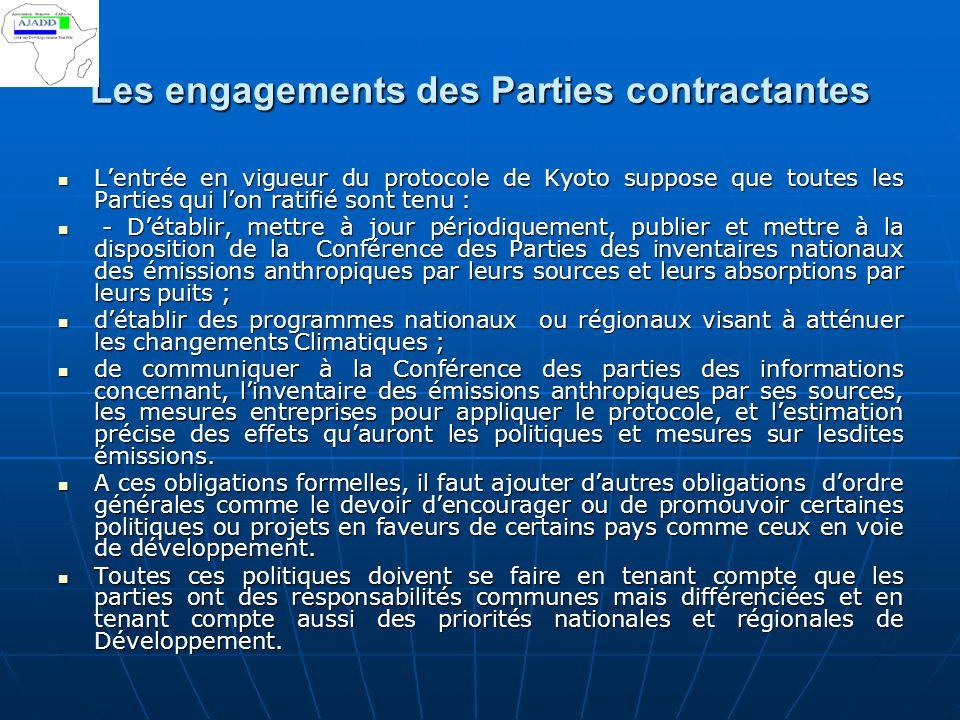 Les engagements des Parties contractantes L'entrée en vigueur du protocole de Kyoto suppose que toutes les Parties qui l'on ratifié sont tenu : L'entr