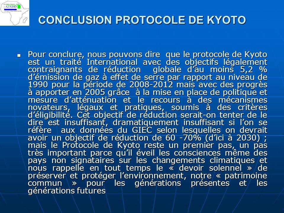 CONCLUSION PROTOCOLE DE KYOTO Pour conclure, nous pouvons dire que le protocole de Kyoto est un traité International avec des objectifs légalement con