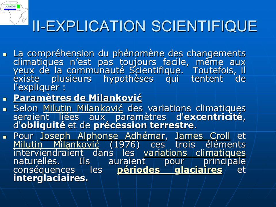 II-EXPLICATION SCIENTIFIQUE La compréhension du phénomène des changements climatiques n'est pas toujours facile, même aux yeux de la communauté Scient